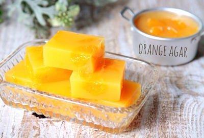オレンジジュース寒天のレシピ